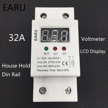 1 pc 32A 220V Self Recovery Automatic Reconnect Over & Under Voltage Protector Lightening Protection Relay LCD Voltmeter Monitor