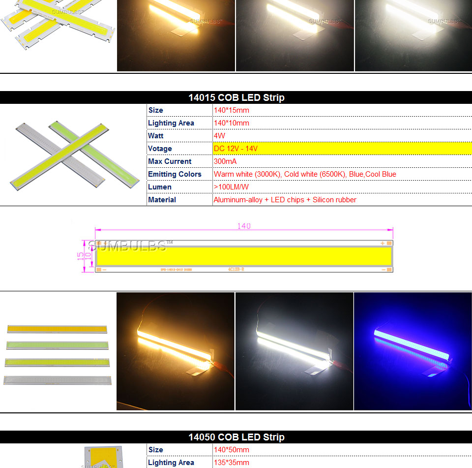 COB LED Strip Light Lamp Bulb 10W 20W 30W 50W Warm Natural Cold White Blue Red Chip On Board LED Matrix Lighting 1-50W (11)