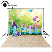 Allenjoy photographic background Balloon fuzzy teddy bear grass backdrops newborn boy scenic summer 10x10ft(China)