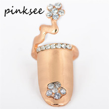 PINKSEE Fashion Dragonfly Flower Design Ring for Women Gold Silver Plated Rhinestone Finger Tip Nail Ring Jewelry