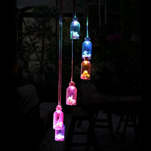 Solar Panel Wind Chimes Lamps (Luck Bottles) Color Changing Glass Solar Light Romantic Solar Power Light Mobile Hanging Lamp(China)