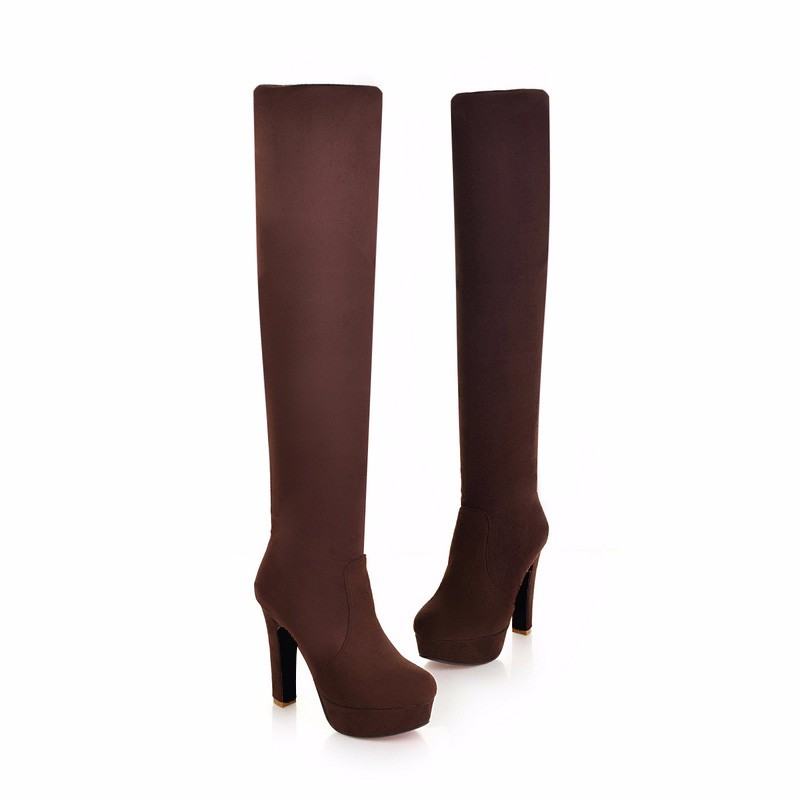 New Women's Boots, Sexy Fashion Over the Knee Boots, Sexy Thin Square Heel, Boot Platform Woman Shoes 28