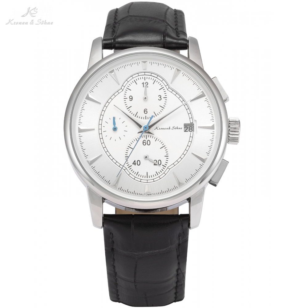 KS Automatic Watch Silver White Black Leather Strap Date Month Mechanical Men Business Brand Heren Horloge Wrist Watches /KS285<br>