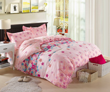 Pink girls bed sheet set,100% cotton king size bedskirt type bed sheet set,queen size fitted type bedding sets pink floral