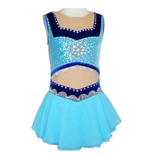 Customized Costume Ice Figure Skating Gymnastics Dress Competition Adult Child Girl Front Midriff Skirt Performance Blue