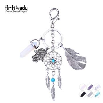 Artilady natural opal stone dreamcatcher keyring fashion silver keyholder boho jewelry car keychain for women 2016 spring