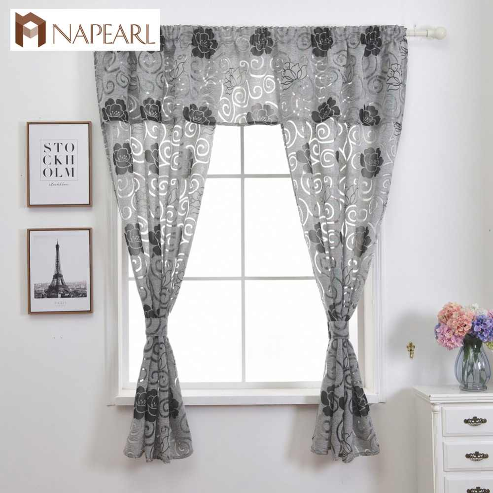 Short Kitchen Curtain Valance Window Treatment Set with curtain tiebacks Jacquard Semi-sheer Fabric Ready Made Door Curtain