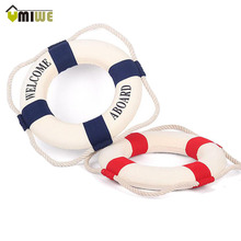 Umiwe 35cm Navy Accent Nautical Welcome Aboard Decorative Cloth Life Ring Buoy Room Bar Home Decoration 35*35*5cm
