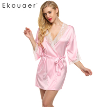 Ekouaer Sexy Nightwear Lace Patchwork Satin Robe Short Women 3/4 Sleeve Deep V Robes Wedding Bride Bridesmaid Bathrobe Pajamas