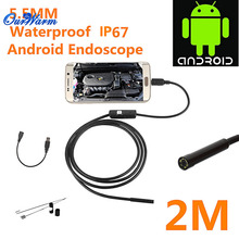 Hot 6 LED 5.5mm Lens Android USB Endoscope Waterproof Inspection Borescope Tube Camera 2M