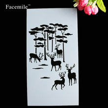 Facemile 23*12CM Merry Christmas Deer Tree Decorative Cookie Stencil Plastic Stencil Coffee Decoration Fondant Template Mold