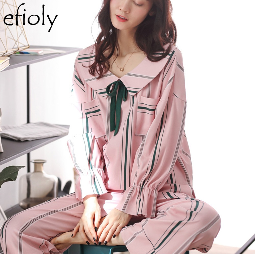 Nightgown Casual Large Size Powder Striped Home Clothing Sleepwear Women's Long-sleeved Lapel Cardigan Trousers Pajamas Set