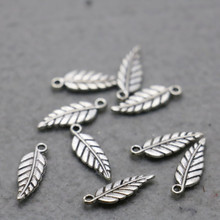 10PCS Accessory buttons Fittings for snaps jewelry Alloy leaf Silver-plate DIY Jewelry Making Design separate Silver-plate