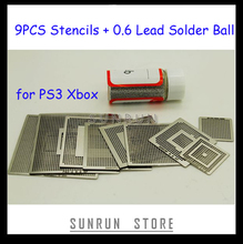 2013 Hottest 9PCS BGA Stencil PS3 Xbox Reballing Stencils Kit with 1 Bottle 25K Solder Ball 0.6mm(China)