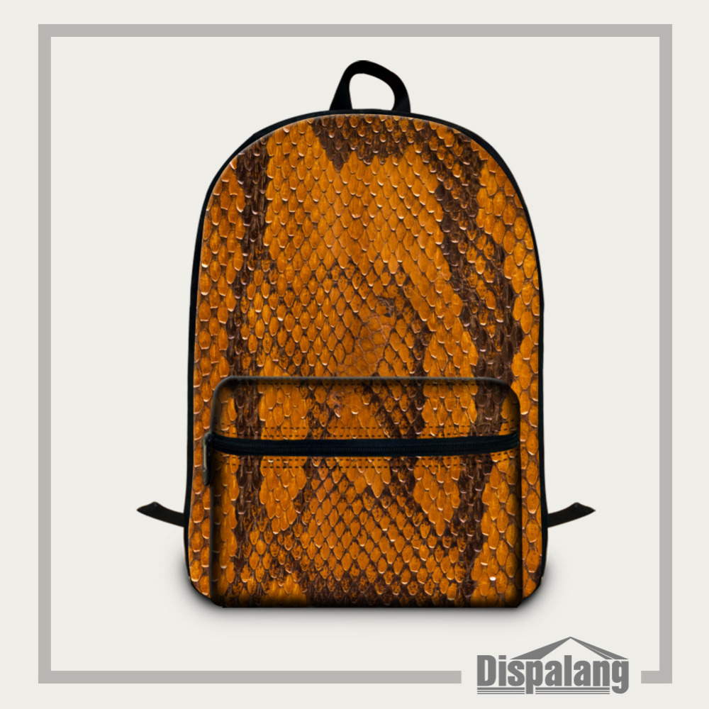 Dispalang 15.5 Inch School Bags For Teenagers College Students Cotton Laptop Backpack Snakeskin Printer Mens Casual Travel Bag <br>