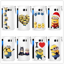 Transparent Small Yellow People Hard plastic Cover Case For Samsung Galaxy S3 S4 S5 Mini S6 Edge Plus S7Edge Note 2 3 4 5