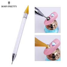 Dual-ended Nail Dotting Pen Crystal Beads Handle Rhinestone Studs Picker Wax Pencil Manicure Nail Art Tool(China)