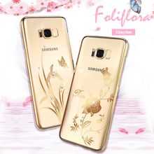 KINGXBAR Capa for Samsung Galaxy S8 Case Swarovski Element Crystal Diamond Flower Case for Samsung Galaxy S8 Cover Phone Coque