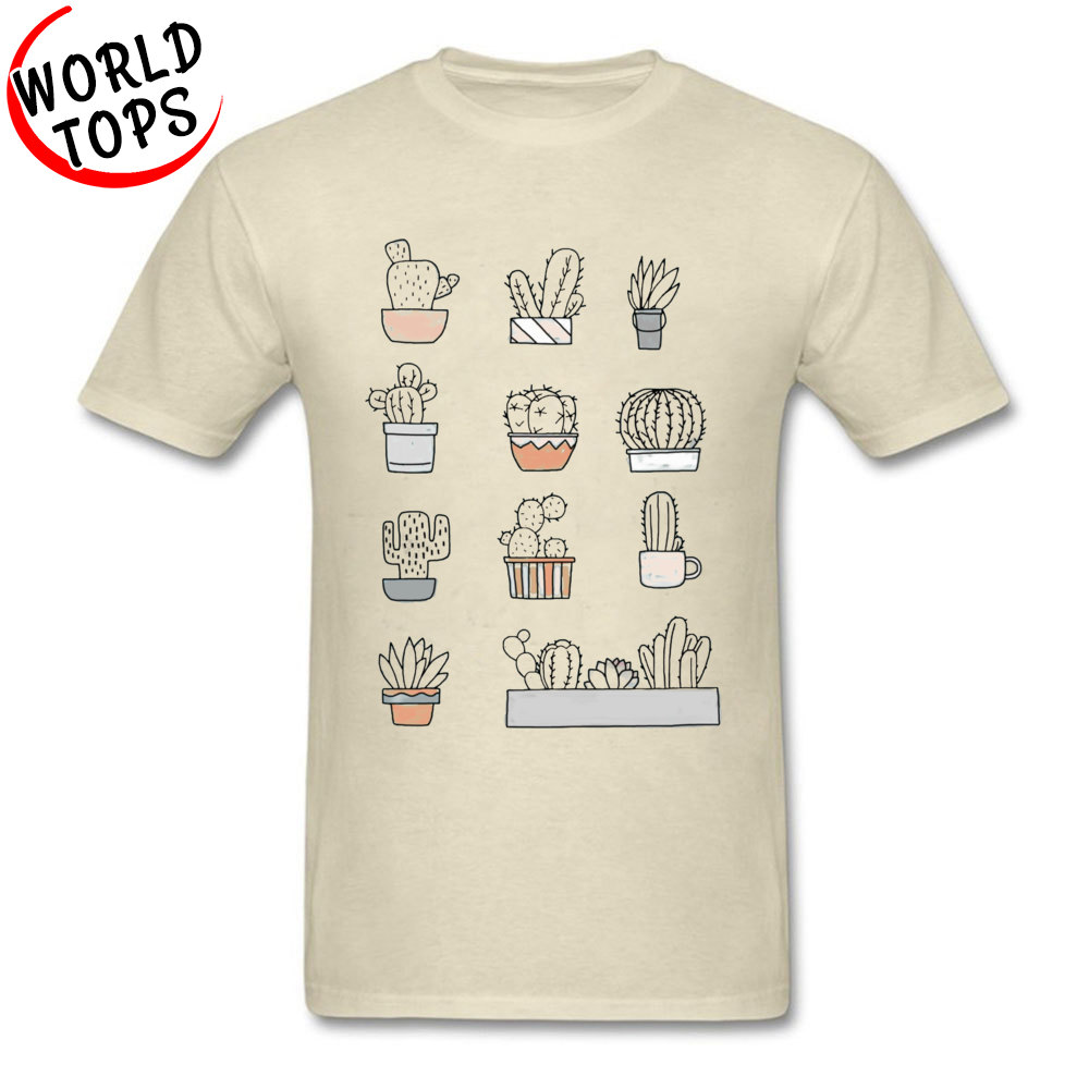 Fashionable Cactus -2387 Tops & Tees for Men Fitted Summer/Fall Round Neck Pure Cotton Short Sleeve Top T-shirts Cool T Shirt Cactus -2387 beige
