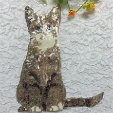 Embroidered sequins animal 25cm cat patches for clothes with it clothing bike patch patchwork cotton fabric new year gifts