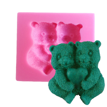 F1179 2 Bears 3D Cake Mold Silicone Fondant Mold Cute Cubs Cupcake Soap Mold Sugarcraft Paste Baking Mould Bakeware By Handmade(China)