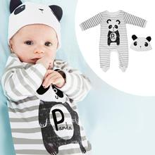 2pcs/set Newborn Baby Boys Girls Infant Stripes Cartoo Print Romper+Cute Cap Breasted Autumn Winter Models Baby Set(China)