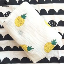 Baby blanket 100% muslin cotton newborn swaddle colorful fruit Pineapple Kiwi fruit Watermelon Banana breathable multi-use