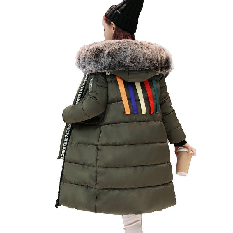 Military Jackets Fur Collar Winter Jacket Women Colorful Striped Coat Hooded Parka Chaqueta Mujer Cotton Jacket Parkas 3XL C3383Îäåæäà è àêñåññóàðû<br><br>