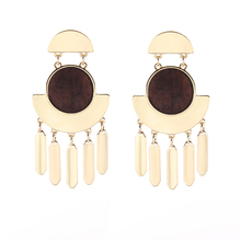 Geometric Round ans Square Wood Metal Bar Tassel Drop Earrings for Women