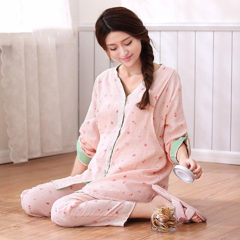 Maternity Nursing Pajamas For Pregnant Women Pyjama Allaitement Nightdress Nursing New Women Cotton 2016 Pajamas Pregnant 60M046<br>