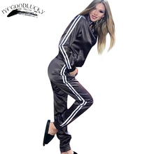 Striped Tracksuit For Women Long Women's Suits Fashion Casual Women's Tracksuits Autumn Coats And Pants Two Pieces Women's Suit(China)