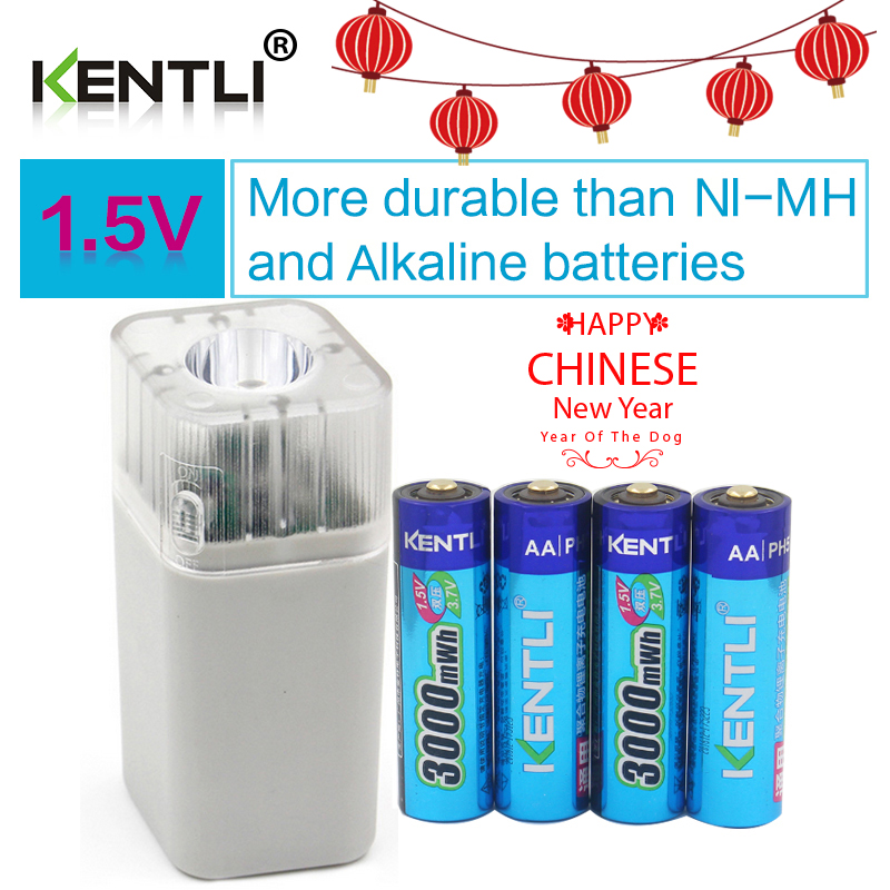 4pcs KENTLI 1.5v 3000mWh Li-polymer li-ion lithium rechargeable AA battery batteries + 4 slots Charger with LED flashlight<br>