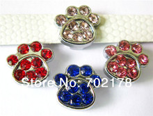 free shipping wholesales price 100pcs 8mm zinc alloy mix color rhinestone paw Slide Charms Fit 8mm Pet Dog Cat Tag Collar band