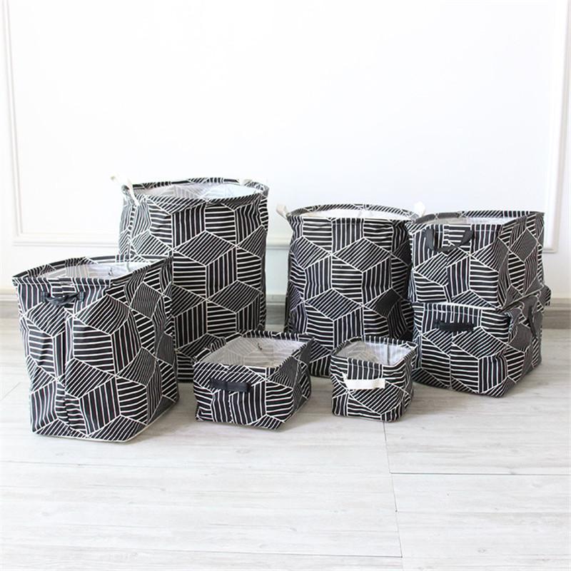FullLove Home Storage & Organization Cotton Square Nordic Cosmetics Organizer Toys Storage Basket Black Geometric Storage Boxes 9