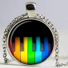 Rainbow Piano keys Necklaces Pendants Rainbow Piano Keys Pendant Choker Necklace for Women Men Mod jewelry