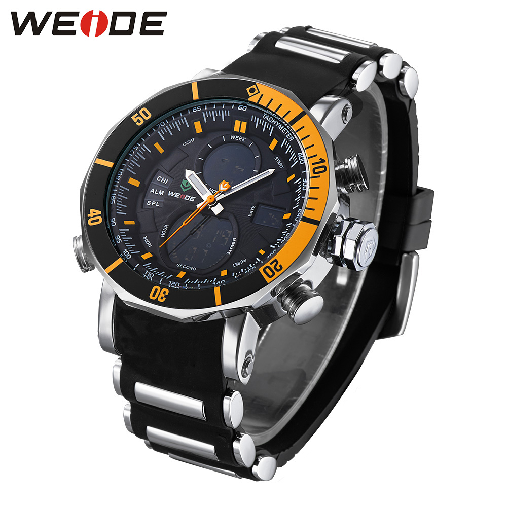 Weide luxury brand automatic digital watch quartz men sports electronic wrist watches silicon water resistant camping LCD clock<br>