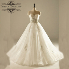 online shop china Strapless Lace Appliques Pearls Sparkle Bling Bling Real Wedding Dress