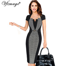 Vfemage Women Elegant Optical Illusion Patchwork Contrast Belted 2017 Vintage Slim Work Office Business Party Bodycon Dress 6717