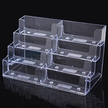 8 Lattice Multilayer Card Storage Box Desktop Clear Transparent Acrylic Business Card Holder Countertop Display Stand Hot(China)