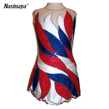 Customized Costume Ice Figure Skating Gymnastics Dress Competition Adult Child Girl Skirt Performance Red White Blue Sleeveless