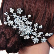 Handmade Simulated Pearl Bridal Combs Tiara With Flower Wedding Hair Jewelry Accessories SL