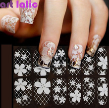 1 Sheet 3D French Style White Lace Bow Nail Art Sticker Decal Manicure Tip Nail Art Decoration Tools