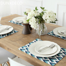 DUNXDECO Table Placemat Lunch Dinner Plate Cover Pad Mat Linen Cotton Tablecloth Modern Arrow Geometric Blue Color 2PC Set Decor