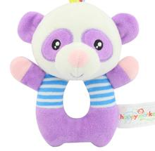 Baby Plush Toys purple Bear Animal Shaped Catoon Hand Bell Ring Rattles Kid Soft Developmental Training Toy(China)