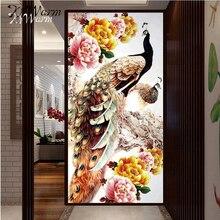 3055 см Домашний Декор 5D DIY Вышивка с кристаллами Павлин пион алмаз Вышивка(China)