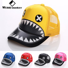 2017 Fashion Shark hat animal Kids hat cap net cap Breathable Outdoor Cap Sportswear Hat Casual Cap Summer head wear sweats