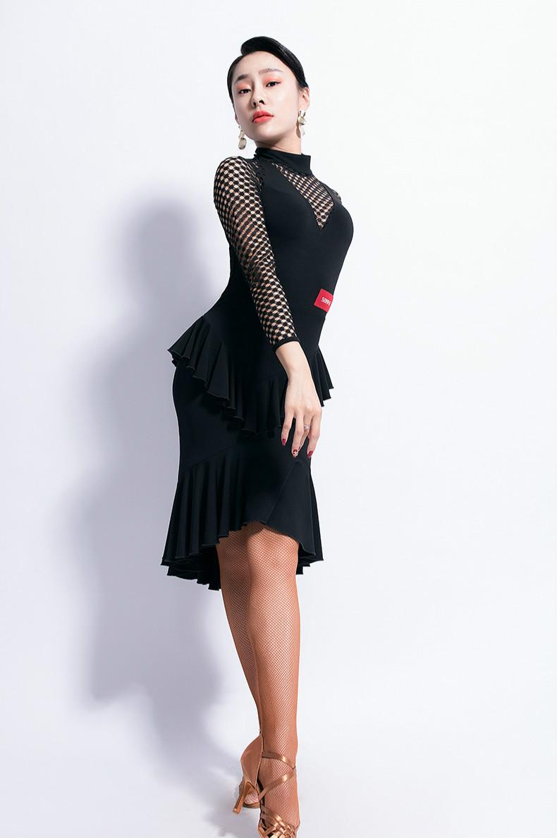 4e003b73d7a1 new woman Latin Dance Dress Female Long Sleeve Dance Practice ballroom  dance competition dresses. L9476_01.jpg. L9476_10.jpg