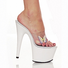 Manufacturers selling new hot style 17 cm super high heels, sandals, fish mouth fine with transparent dancing shoes