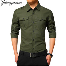 2017 Top Fashion Casual Mens Military Shirts Long Sleeve Army Brand Clothing Male Slim Fit Dress Shirt Men Camisa Masculina(China)