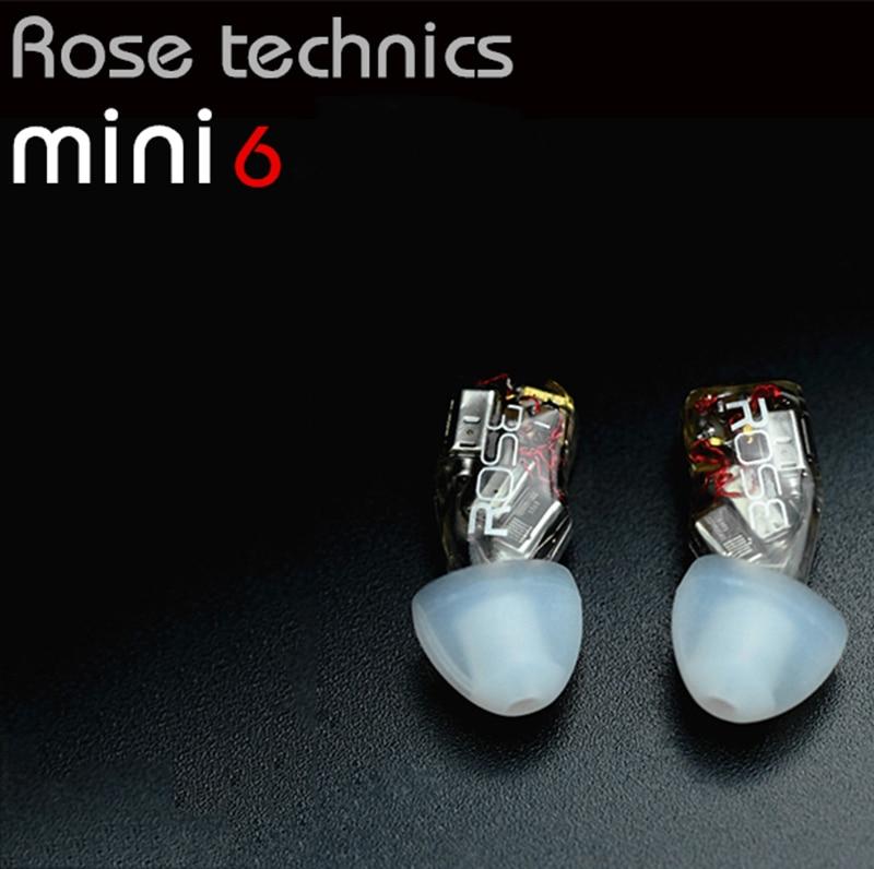 Rose Mini6 6 Balanced Armature 6BA Drivers High Fidelity Audiophile Hifi Music In-ear Earphone MMCX Detachable IEMs